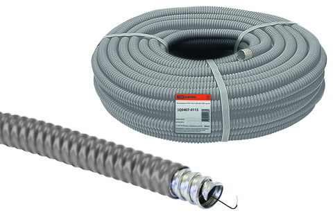 Металлорукав в ПВХ-изоляции РЗ-Ц-П 10 серый с протяжкой (25м) TDM