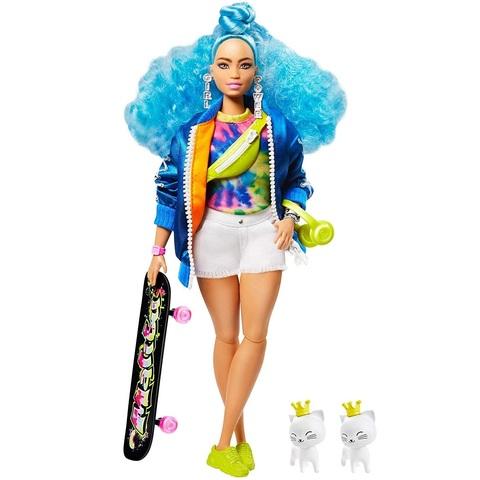 Барби Экстра 4 Пышка в Куртке на Молнии с Синими Волосами с Двумя Котятами