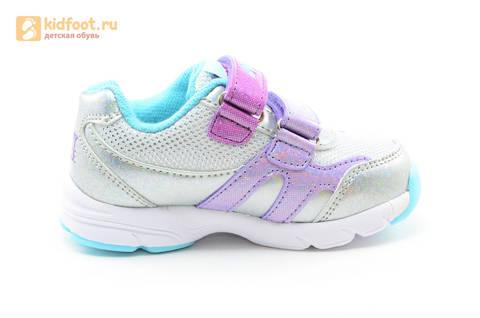 Светящиеся кроссовки для девочек Пони (My Little Pony) на липучках, цвет серебряный, мигает картинка сбоку. Изображение 4 из 15.
