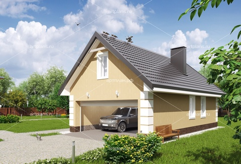 Проект гаража с мансардой из газобетона
