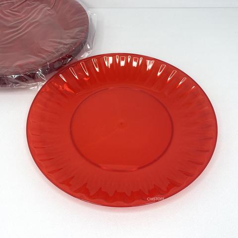 Тарелка 205мм стеклоподобная красная (10 шт.)