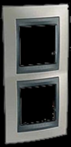 Рамка на 2 поста, вертикальная. Цвет Никель-графит. Schneider electric Unica Top. MGU66.004V.239