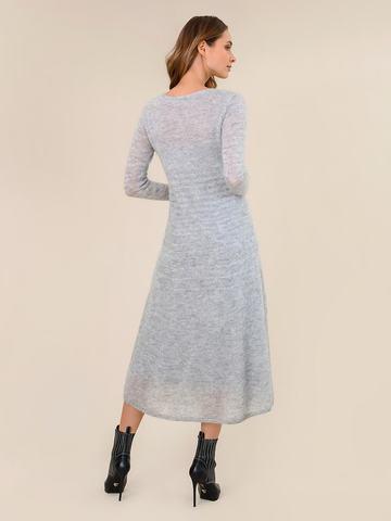Женское платье светло-серого цвета из мохера - фото 4
