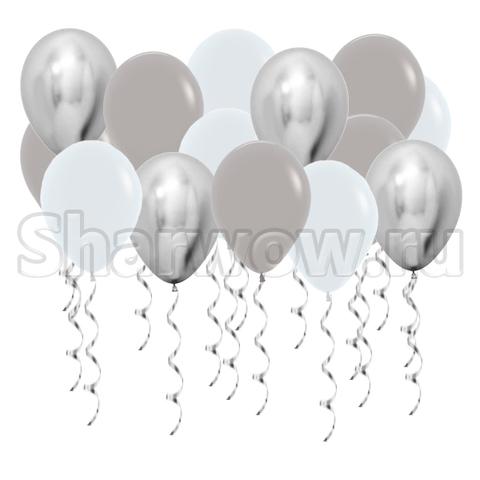 Воздушные шары с гелием под потолок Белый, серый, серебро