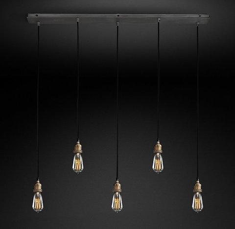 Подвесной светильник копия 20th C. Factory Filament Bare Bulb Rectangular Pendant by Restoration Hardware