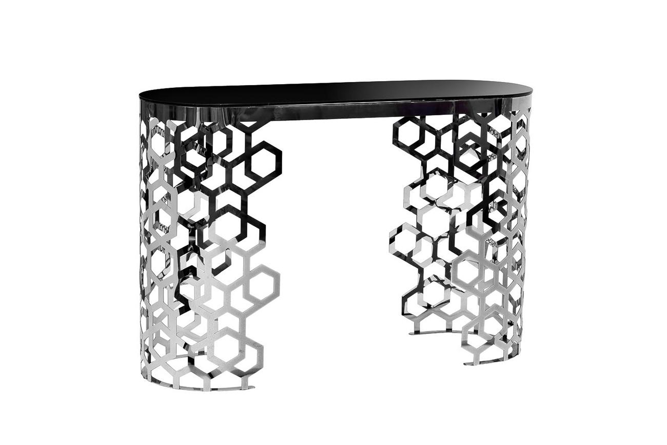 Консоль черное стекло/серебро (13RX3046-SILVER) Garda Decor