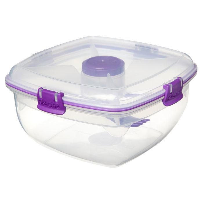 """Контейнер для салата с разделителями и приборами Sistema """"TO GO"""" 1,63 л, цвет Фиолетовый"""