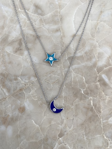 Колье Эфеса из серебра с голубой звездой и синим месяцем