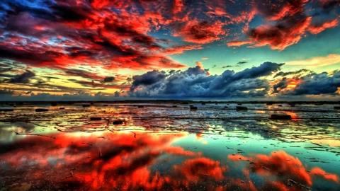 Алмазная Мозаика 40x50 Красный закат над морем