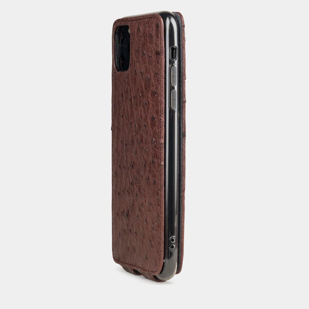Чехол для iPhone 11 Pro Max из натуральной кожи страуса, бордового цвета
