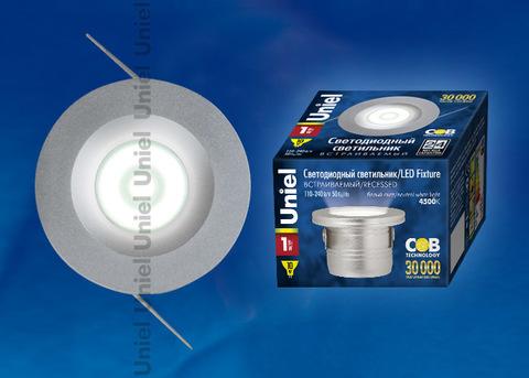 ULM-R02-1W/NW IP20 Sand Silver картон Светильник светодиодный встраиваемый, 110-240В. Материал корпуса алюминий, цвет матовое серебро. Белый свет.