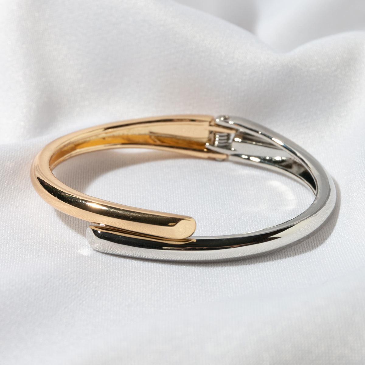 Браслет-обруч нахлестный, биколор (серебристый, золотистый)