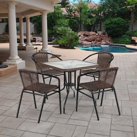 Комплект мебели для летнего кафе Асоль-3 TLH-037BR2/070SR-70х70 R-05 Brown (4+1)