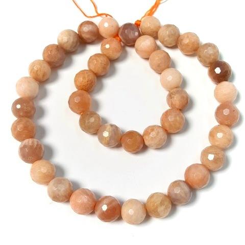 Бусины лунный камень персиковый шар граненый 10 мм 20 бусин