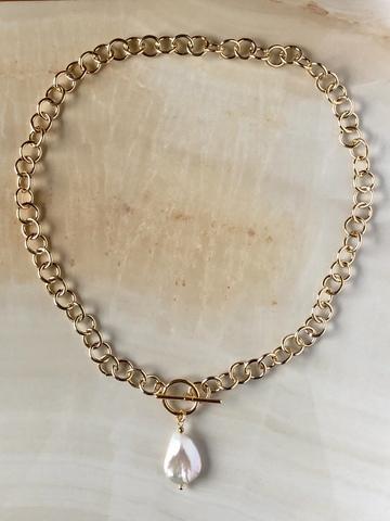 Колье-цепочка с барочной жемчужиной, позолота