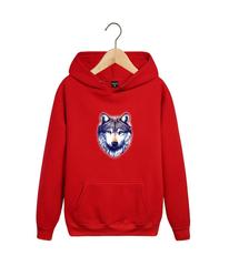 Толстовка красная 007 с капюшоном (худи, кенгуру) и принтом Волк (Wolf)