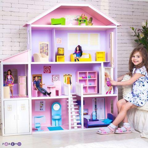 "Домик для Барби ""Фантазия"" (гараж, лифт, лестница, мебель)"