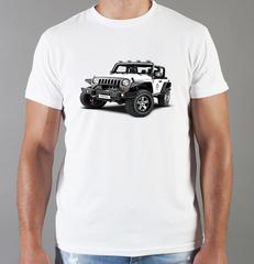 Футболка с принтом Jeep (Джип) белая 009