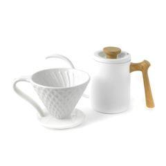 Белая воронка для кофе Mojae 02 и белый чайник для пуровера Mojae | Easy-cup.ru