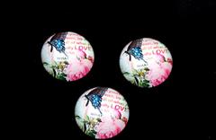 Кабошон с дизайном 2-2,5 см, 1 шт, стеклянный.