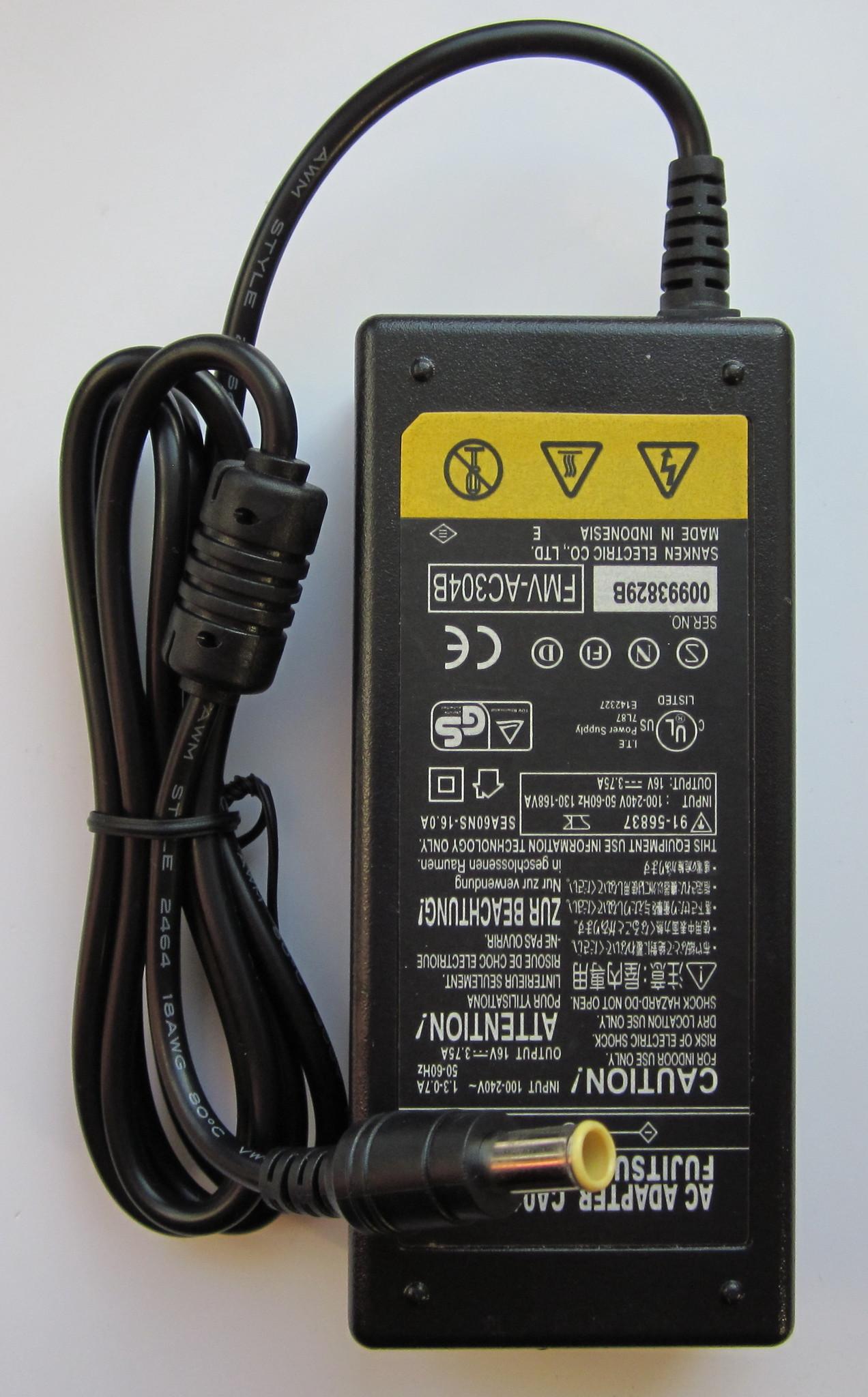 Адаптер для ноутбука Fujtsu Siemens, Panasonic, SONY VAIO +16V, 3,75A