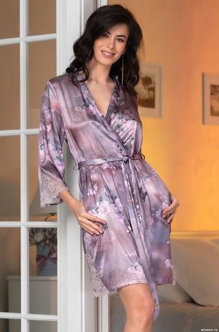 Короткий шелковый халат Mia Amore Аврора (70% нат.шелк)