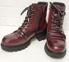 Женские зимние ботинки  кожаные. Зимние ботинки на шнуровке  Marani Magli 03-0073 Burgundy.