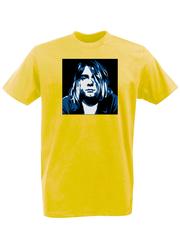 Футболка с принтом Курт Кобейн, Нирвана (Nirvana, Kurt Cobain) желтая 002