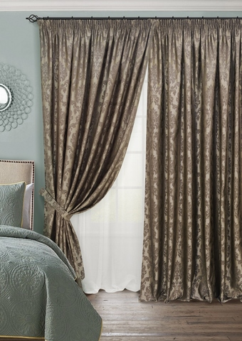 Комплект штор с тюлем и подхватами жаккард Афина темно-коричневый