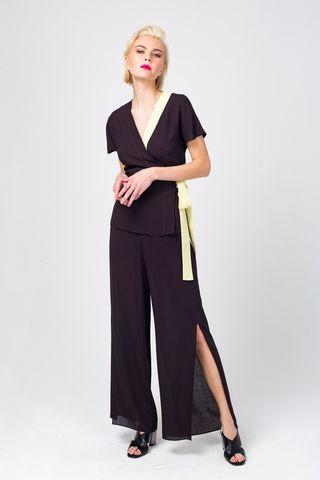 Фото легкие широкие брюки из вискозы с разрезом до колена - Брюки А486-370 (1)