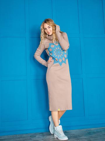 Платье свободного кроя какао с синим кружевом