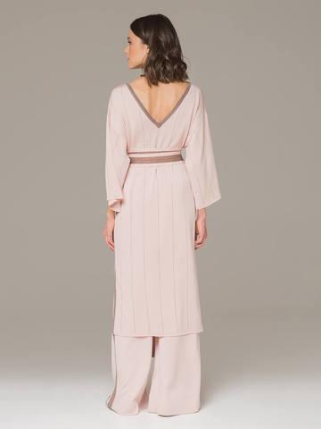 Женское платье светло-розового цвета из шелка на поясе - фото 2