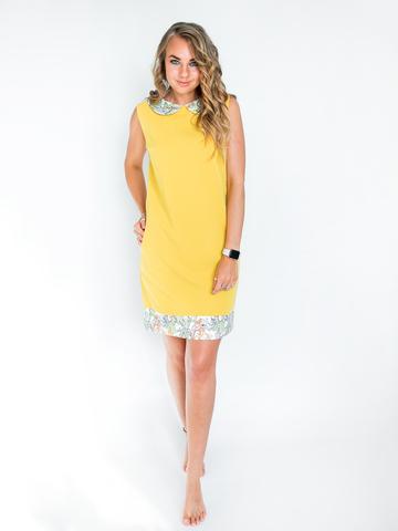 Платье желтое с белым воротником