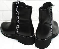 Демисезонные ботильоны ботинки кожаные Jina 6845 Leather Black.