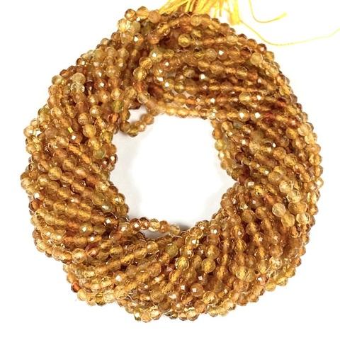 Бусины турмалин жёлтый AА граненый 3 мм цена за 68 бусин (~19 см)