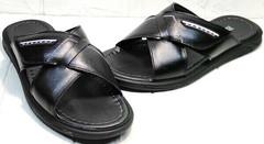 Мужские кожаные сандалии шлепки на липучке Brionis 155LB-7286 Leather Black.