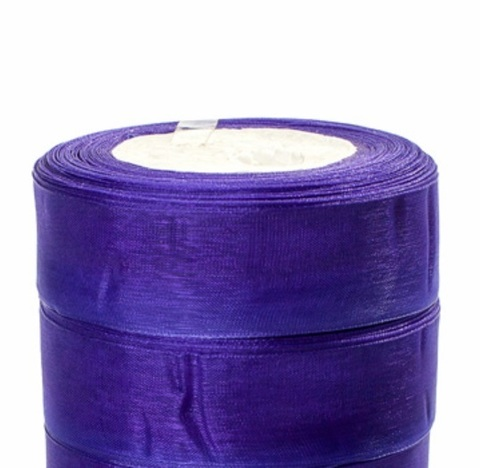 Лента органза (размер:25мм х 25 ярдов) Цвет: тёмно-синий