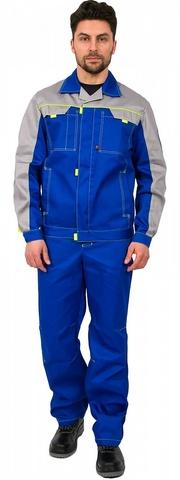 Костюм Фаворит-1 Премиум (тк.Балтекс,210) куртка, брюки васильк/св.серый
