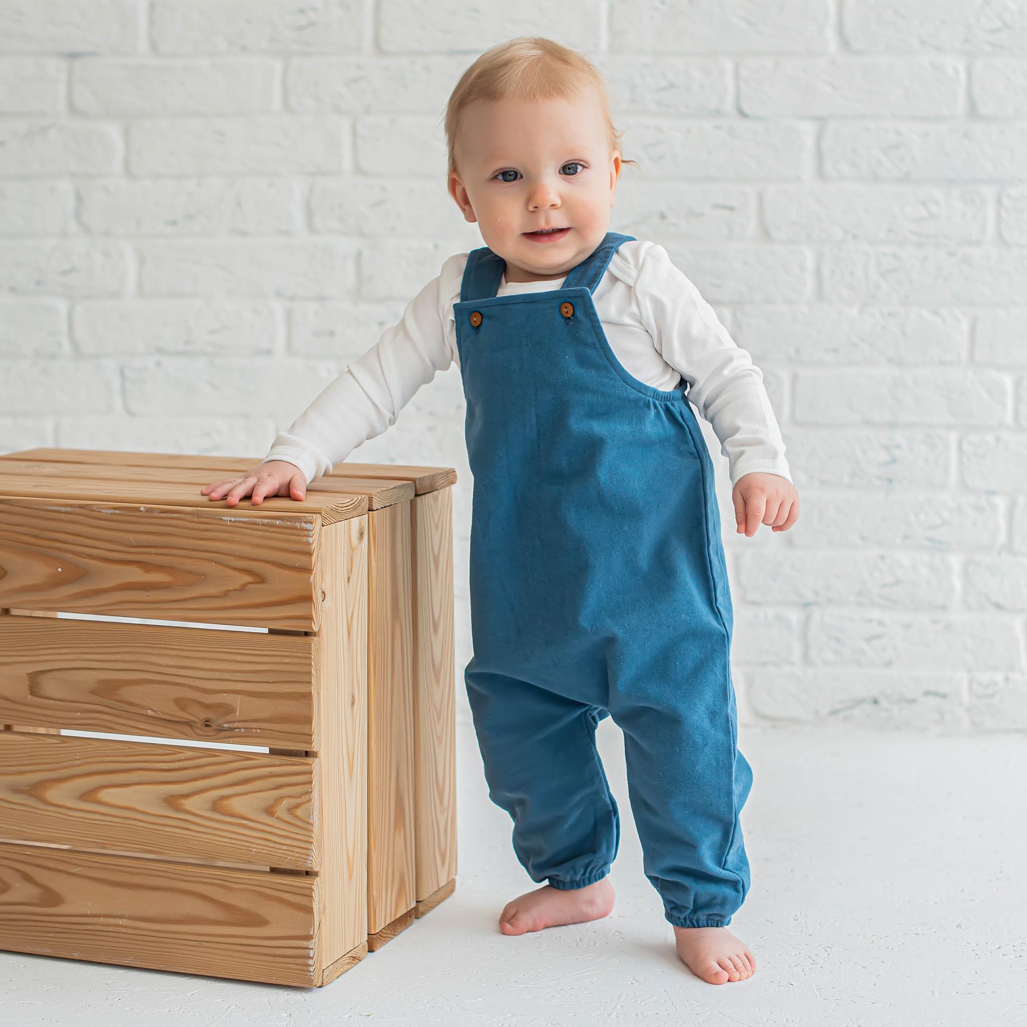Flannel jumpsuit with straps 0+, Cobalt Blue