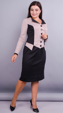 Альфа. Стильное офисное платье плюс сайз. Пудра/черный.
