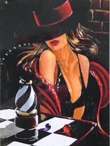 Алмазная Мозаика 30x40 Дама в черном платье и шляпке (арт.HZS194)