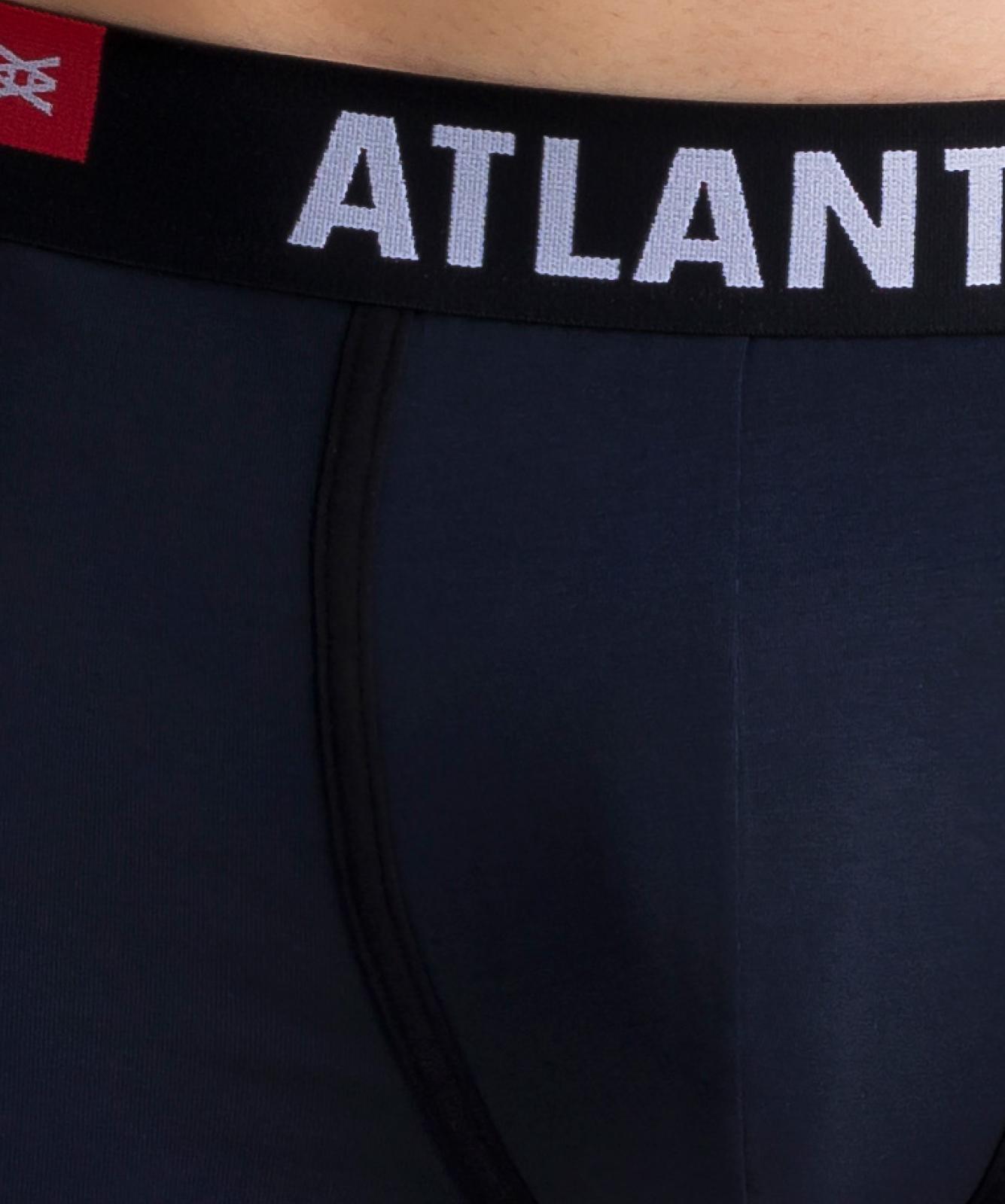 Мужские трусы шорты Atlantic, набор из 3 шт., хлопок, темно-синие + голубые + синие, 3SMH-002