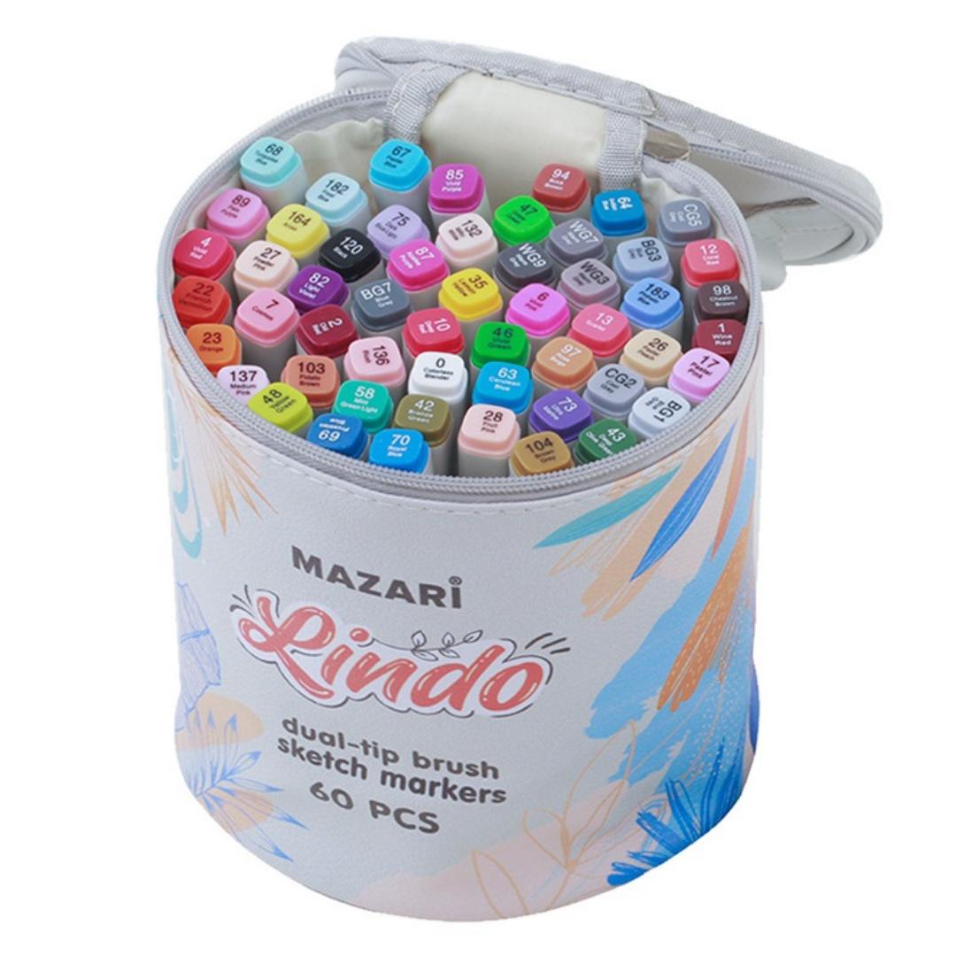 Mazari Lindo набор маркеров для скетчинга 60 шт двусторонние спиртовые кисть/долото 1.0-6.2 мм (вкл. блендер) в круглой сумке