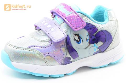Светящиеся кроссовки для девочек Пони (My Little Pony) на липучках, цвет серебряный, мигает картинка сбоку. Изображение 1 из 15.