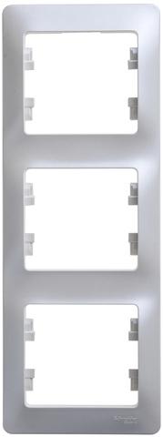 Рамка на 3 поста, вертикальная. Цвет Перламутр. Schneider Electric Glossa. GSL000607