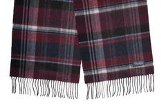 Шерстяной шарф, мужской черно-бордовый 31122