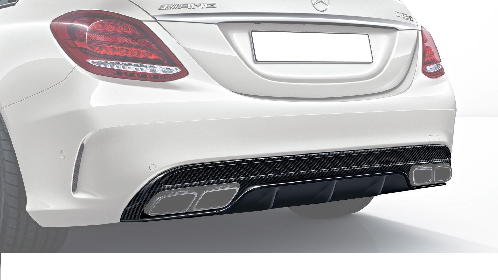 Карбоновый диффузор заднего бампера AMG Style для Mercedes С-class W205