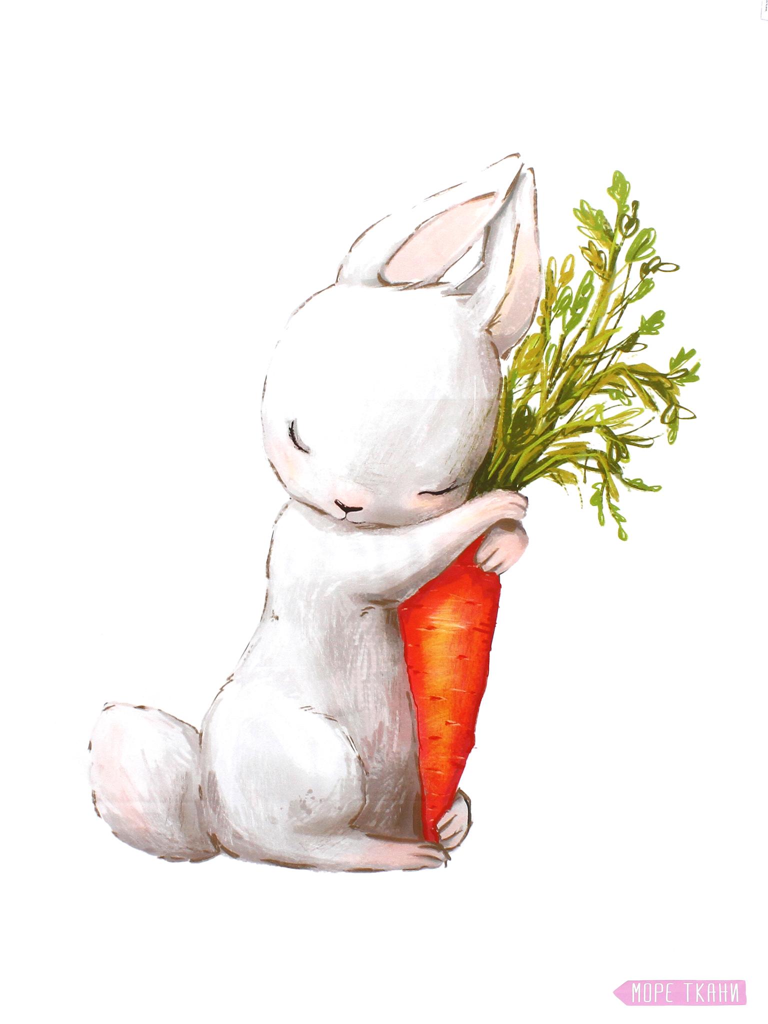 Панель(купон) зайчик с морковкой-75*100 см