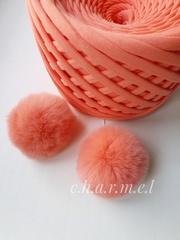 Помпон из натурального меха, Кролик, 5-6 см, цвет Коралловый,  2 штуки