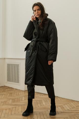 Пальто с поясом, черный